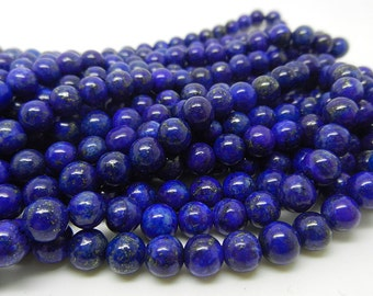 "16""  Lapis Lazuli  Round Bead  Gemstone --6MM"