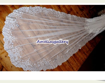 100% Hand embroidered mantilla lace bridal wedding cathedral chapel veil