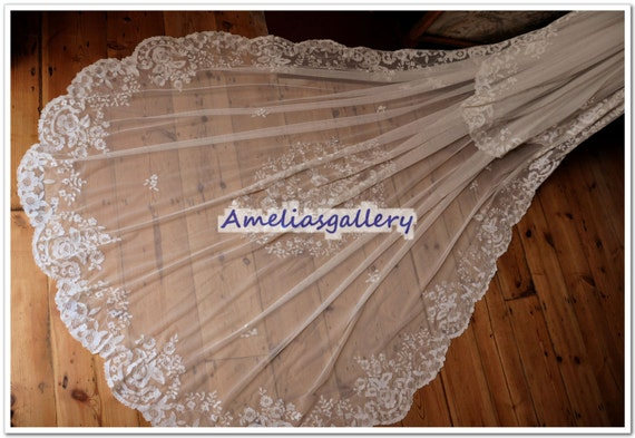 100% Hand embroidered lace bridal chapel veil, wedding veil