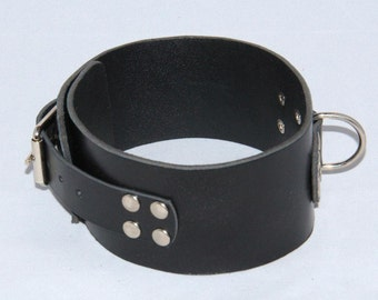 "Handmade black leather collar about 2.36"" (60 mm) wide with D-ring."