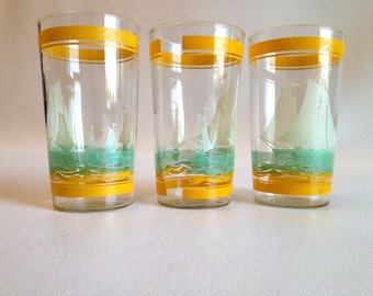 Mid Century Sailboat Juice Glasses