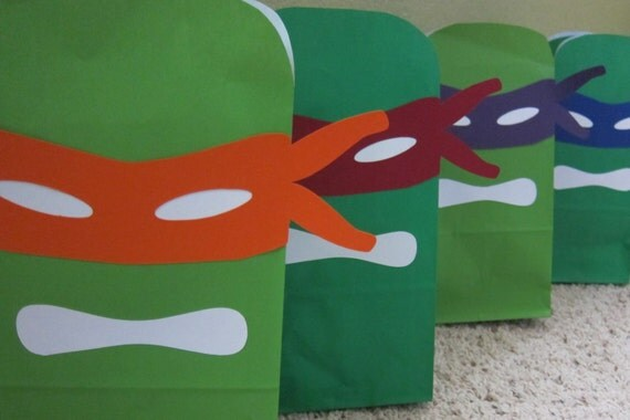 Ninja Turtles Mask Printables for Gift Sacks (color)
