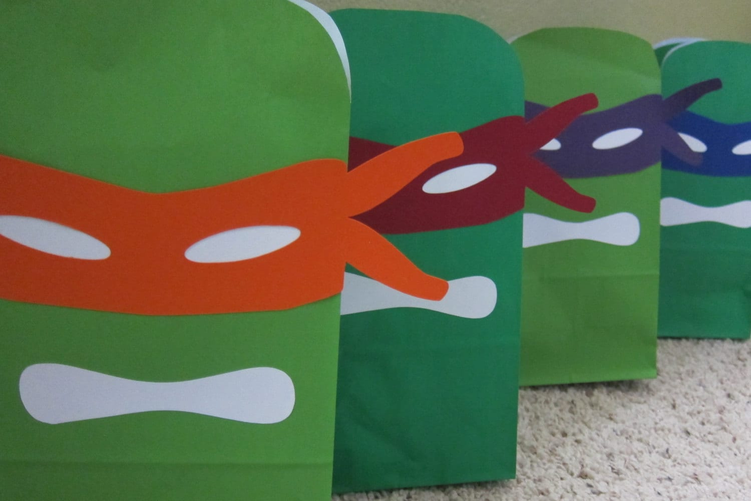 Ninja Turtles Mask Printables for Gift Sacks color