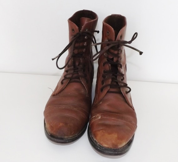 vintage brown leather ankle boots lace up on course equestrian