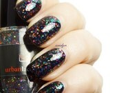 BEST SELLER.  Rainbow glitter nail polish - Party In Your Polish - vegan multi color glitter in a SHEER black base.  New Years nail trends.