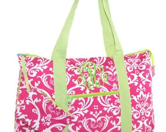 Extra Large Hot Pink Lime Green Damask Tote with Free Embroidery