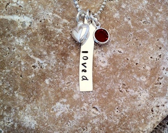 LOVED Necklace with Charms - Hand Stamped