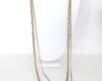 Vintage Gold Necklace, 1980's Double Chain Necklace, Gold-Tone Metal Chain Necklace, 1980's Necklace