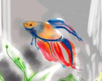A Tiny Fish Tale - Blue to Red, wall art, art print, artwork, painting, Betta fish, Betta, rainbow, aquarium , fishbowl, red, fish tank
