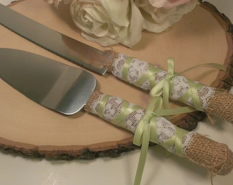custom color rustic wedding cake server and knife burlap and lace wedding cake cutter country serving set(K129)