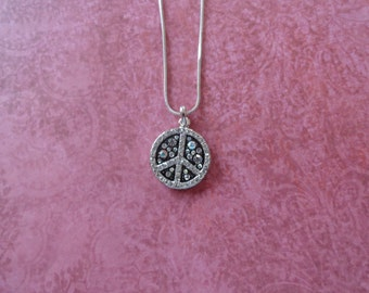 Peace sign crystal pendant