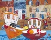 Fishbones & Boats - Ltd Ed Mounted Giclee Print