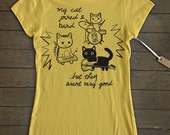 My cat joined a band - yellow  women's tee