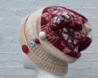 Womens hat ladies beanie rustic oink gift for her hat handmade indie urban accessory head wool hat beanie winter gift cosy cosy soft chunky.