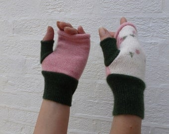 Cottage chic roses winter gloves green mittens fingerless texting gloves pink color block cream wool green cashmere accessories eco-friendly