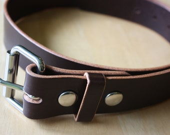 1.5 inch wide Amish made Rich Brown, Harness Leather Belt with Stainless Steel Buckle