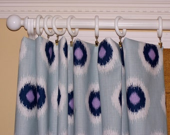 "BLUE CURTAINS.Navy Curtains.Ikat Drapes.Ikat. Premier Fabric.Pair Drapery Panels.Light Blue Curtains.63"".84"".96"".108"",132"""