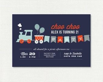 Train Birthday Invitation - Printable birthday invites - Choo choo for 2nd, 3rd, 4th, 5th boys - Navy Red, Yellow Gray or Vintage Brown