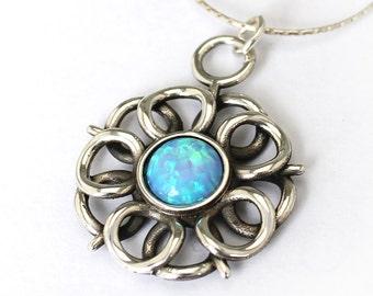 Daisy Silver Pendant , Opal Necklace.