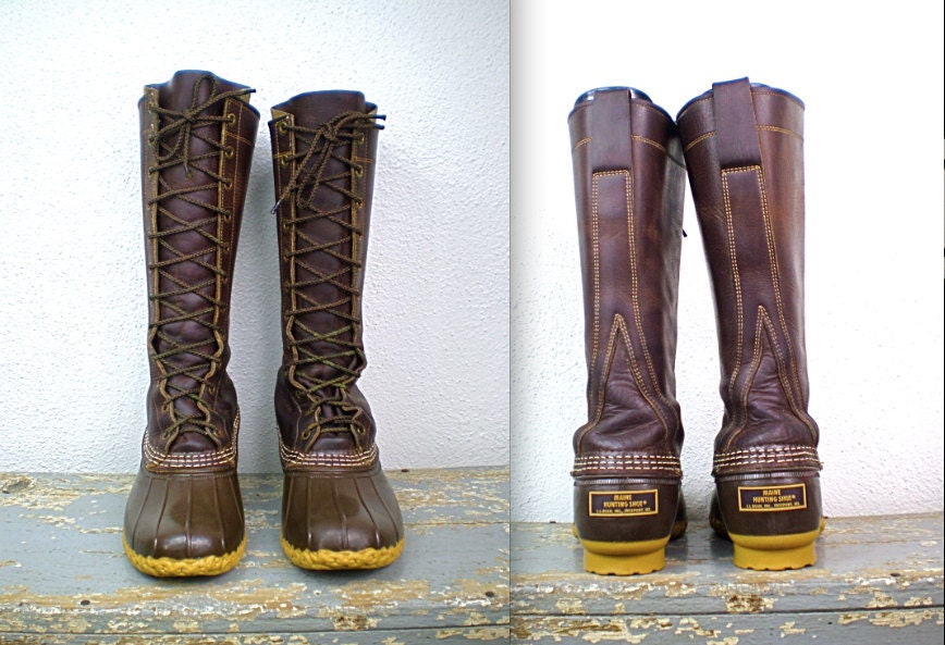 Vintage Tall Maine Hunting Shoe Classic 12 Eyelet L L Bean