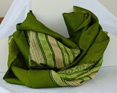 Pure Silk Scarf - Green Godess Long Infinity Scarf chartreuse