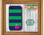 Preppy Whale iPhone Case, Hard Plastic iPhone Case, iPhone 4, iPhone 4s, iPhone 5, iPhone 5s, iPhone 5c, iPhone 6, Phone Cover, Phone Case