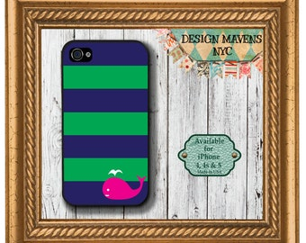 Preppy Whale iPhone Case, Nautical iPhone Case, iPhone 4, 4s, iPhone 5, 5s, 5c, iPhone 6, 6s, 6 Plus, SE, iPhone 7, 7 Plus, Phone Case