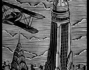 King Kong Woodblock Print