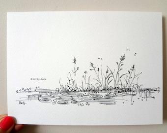 Rain Pond Ink Pen Print, Original Ilustration Drawing by Aeris Osborne ,5 x7, Black Indian Ink