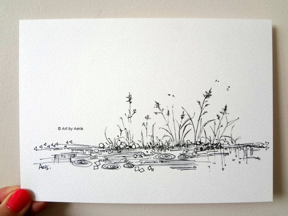 Rain pond ink pen print original ilustration drawing by aeris for Ink drawings easy