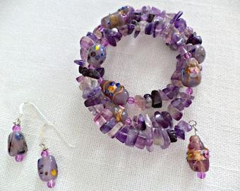 Amethyst Bracelet / Amethyst Earrings - February Birthstone - Orchid Jewelry