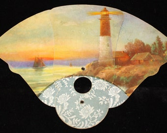 1930s Fold Up Advertising Fan Funeral Director - Print of a Light House Scene