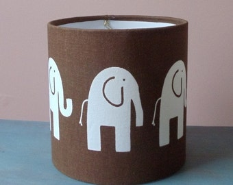 Handmade Elephant Drum Lamp Shade - Brown with White Elephant Design