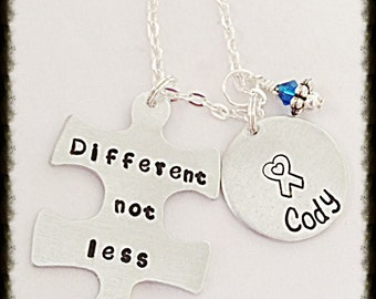 Hand stamped Autism Awareness Different Not Less