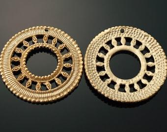 3031014 / Circle Textile / 16k Matt Gold Plated Brass Pendant 28mm / 2.8g / 2pcs