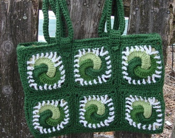 the Celtic knot tote, book bag, in shades of kelly green and white, fully lined, ready to ship
