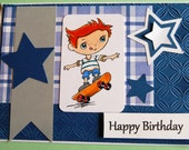 Star Athlete Happy Birthday Card - Boy Skate Boarding -  Handmade Greeting Card for Boy