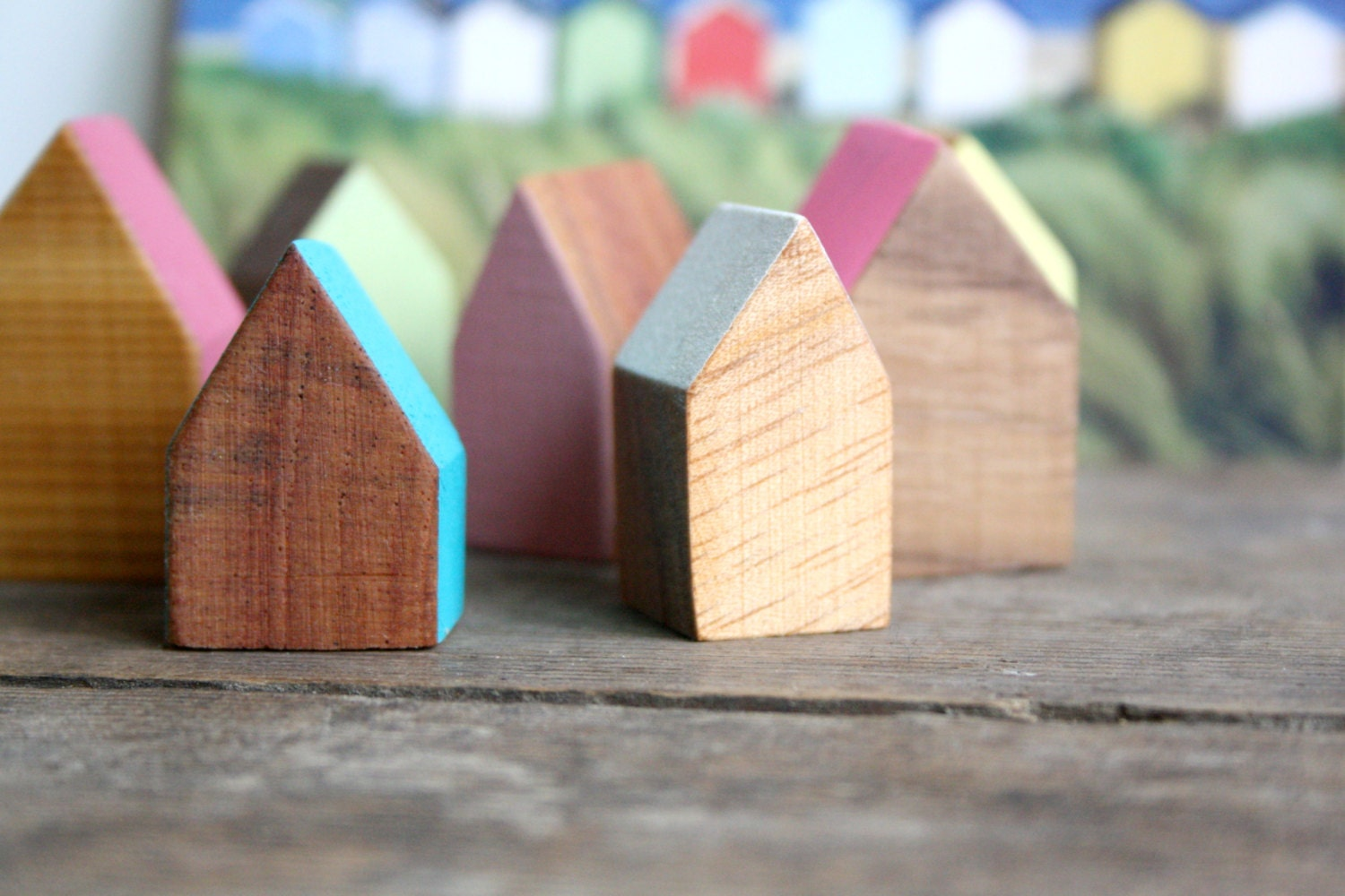 Miniature Wooden House Hand Painted Wood House Small Wooden