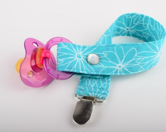 Pacifier Clip - daisy - turquoise