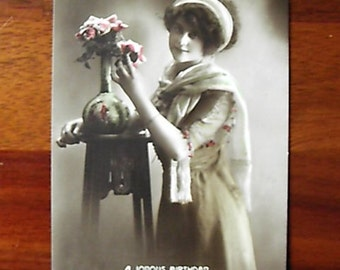 Vintage Birthday Postcard Sepia and Colour 1915 (Used)