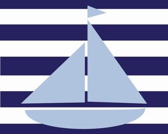 8x10 or 11x14 Nautical Sailboat Nursery Art Print