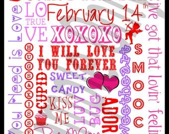 Valentine's Day Subway Art - 16x20 or 8x10