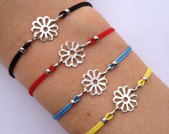 Flower Charm Bracelet with nylon cord and adjustable size
