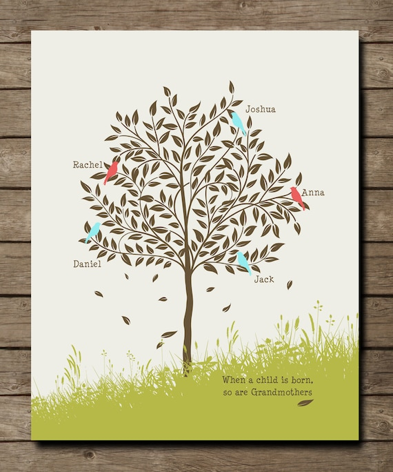 Grandma Gift Family Tree with grandkids names Personalized