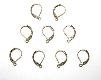 20 Pcs. lever back earrings / french ear wires / blanks with loop / bronze tone OH058