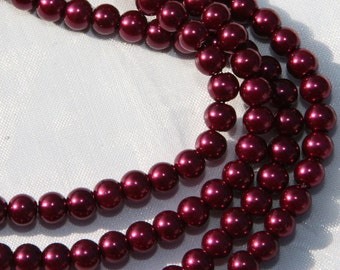 "75 PCs 6mm gl. Glass pearls ""Plum"" GWP22-6"
