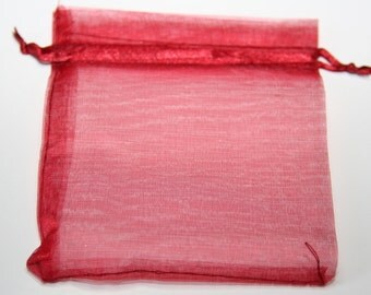 10 Pcs. organza bag / jewelry bags /dark red / 10 x 12 cm OS001