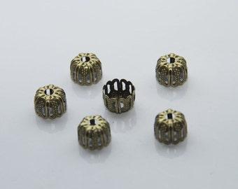 25 PCs bead caps / 9mm / bronze tone  PK004