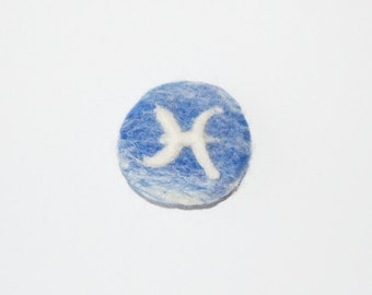 Gifts for Pisces, Pisces Zodiac, Needle felted brooch, Blue White brooch, Blue Pisces brooch, Personalised jewelry, Zodiac gifts