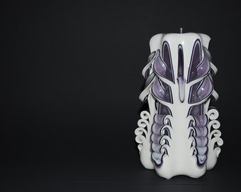 Hand Carved Purple Single Butterfly Cut and Curl Candle